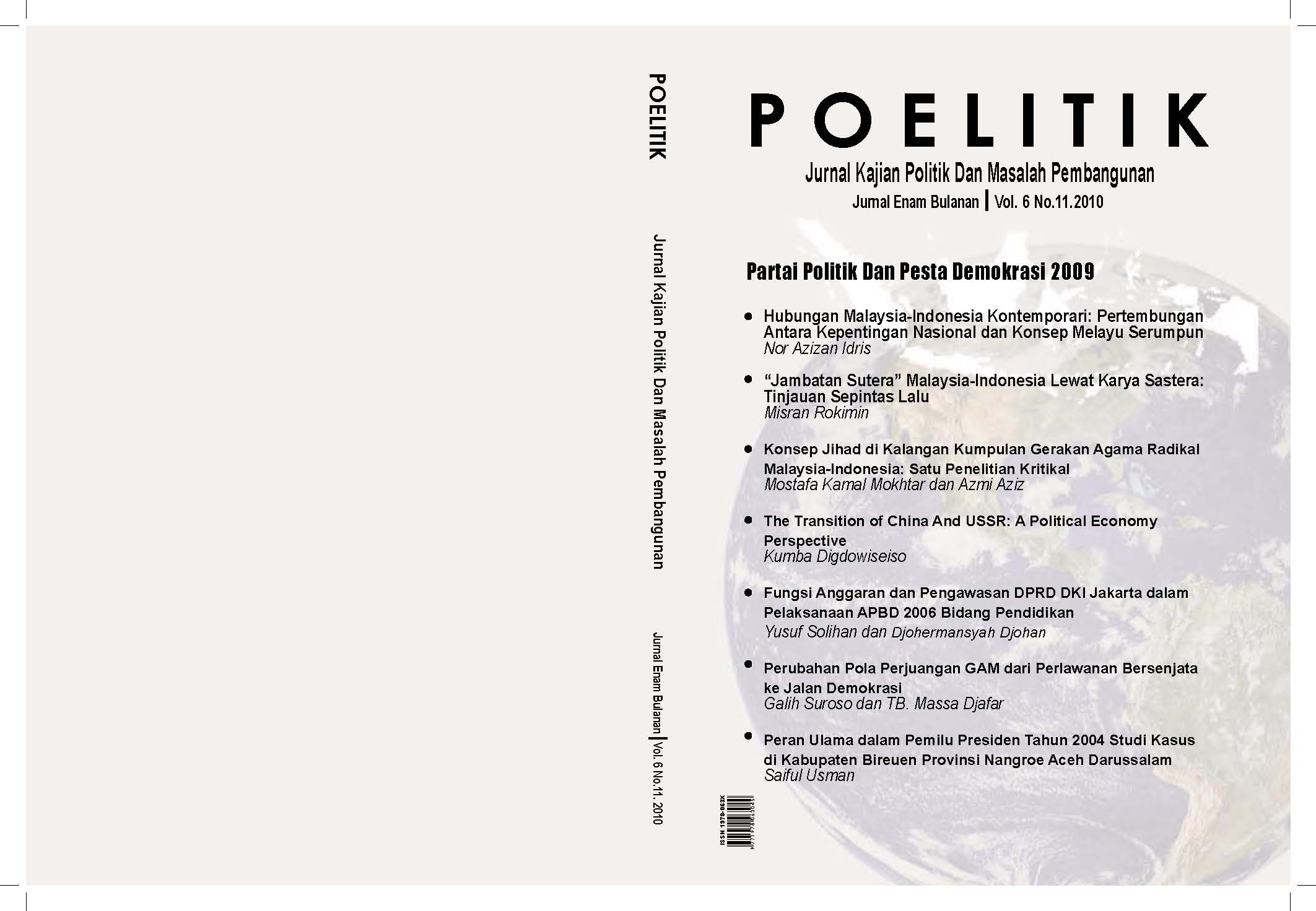 Jurnal Poelitik Volume 6/No.11/2010